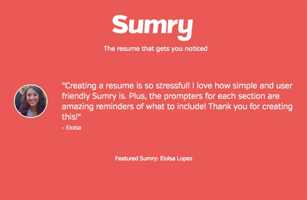Create your simple stylish job resume with Sumry.